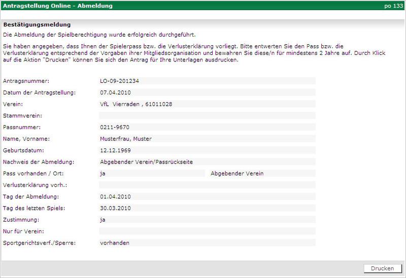 Geliebte Abmeldung Antrag   DFBnet &IT_16